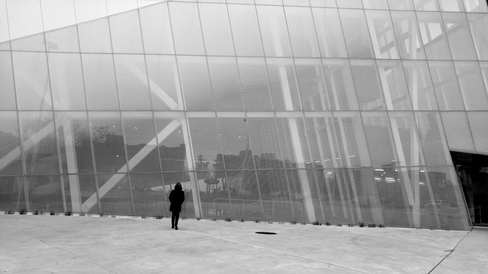 Windows Futuristic Angle Design Slanted Architecture One Person Glass And Steel Modern Cityscapes Silhouette Unique Perspective Oblique Building Black & White Collection Black And White Modern Architecture Montréal Canada Black And White Friday The Graphic City