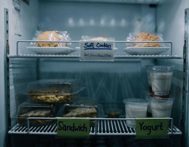 Food in the refrigerator. Sandwich Baked Close-up Food Food And Drink For Sale Refrigerator Still Life Store Sweet Sweet Food Yogurt