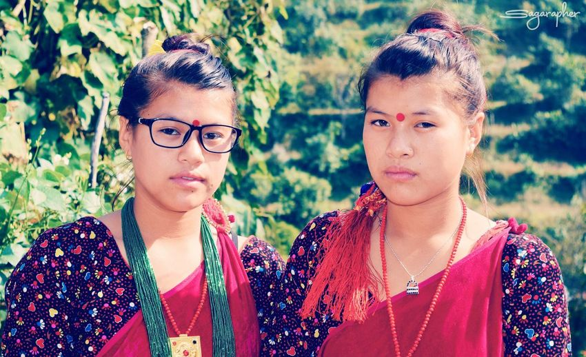 Picturing Individuality of twins sister with their cultural dress up (Gurung Dress)