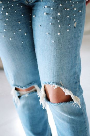 Distressed... Human Body Part Jeans One Person Blue Close-up Human Leg Indoors  Men One Man Only Low Section Day Human Hand Adult Young Adult People Adults Only Hose Löcher Pearls Blue Color Bluejeans Kaputt Fashion Stories