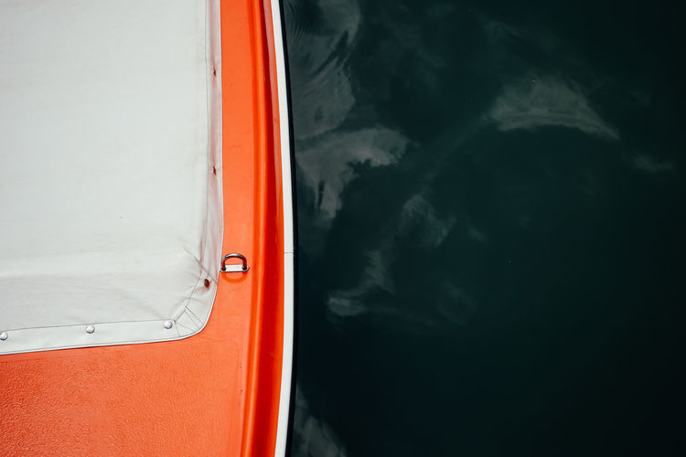 Close-up of red boat