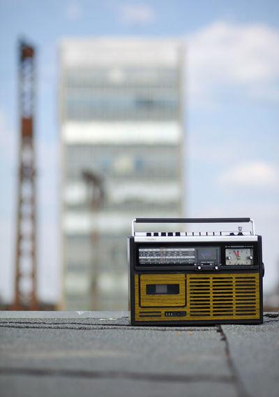 retro music 70ies Design 70ies Music Cassettetape Focus On Foreground Mixtape Music Outdoors Retro Cassette Tape Retro Music RETRO Radio  Retro Style Selective Focus Sky Urban Retro