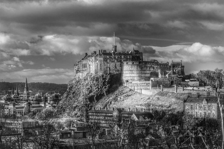 Edinburgh Castle Against Cloudy Sky
