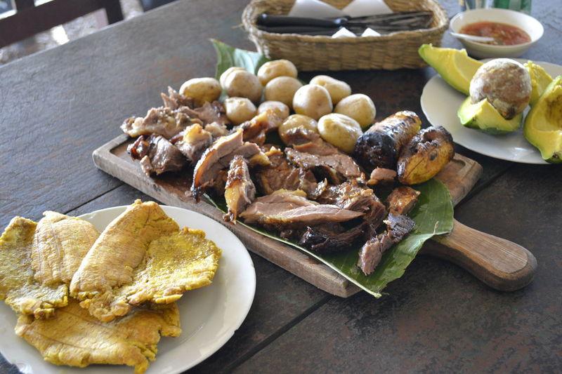 Aji Beef Mamona Pork Tostadas Aguacate Avocado Close-up Day Food Freshness No People Platanos Plate Potatoes Ready-to-eat Table