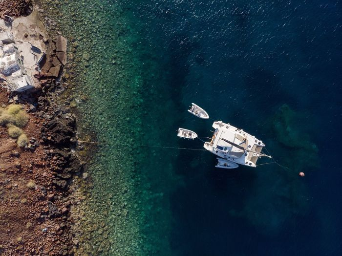 High angle view of catamaran in santorini greece