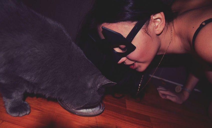 Relaxing Cat Batman Beautiful Воронеж From Russia With Love Drinks Milk Models