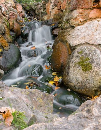 Autumn Leaves Backgrounds Beauty In Nature Brook Day Long Exposure Melancholy Motion Nature Nature No People Outdoors Rock - Object Scenics Stones Stream Taken Photos Textures And Surfaces Wall Water Water Course Waterfall White Water