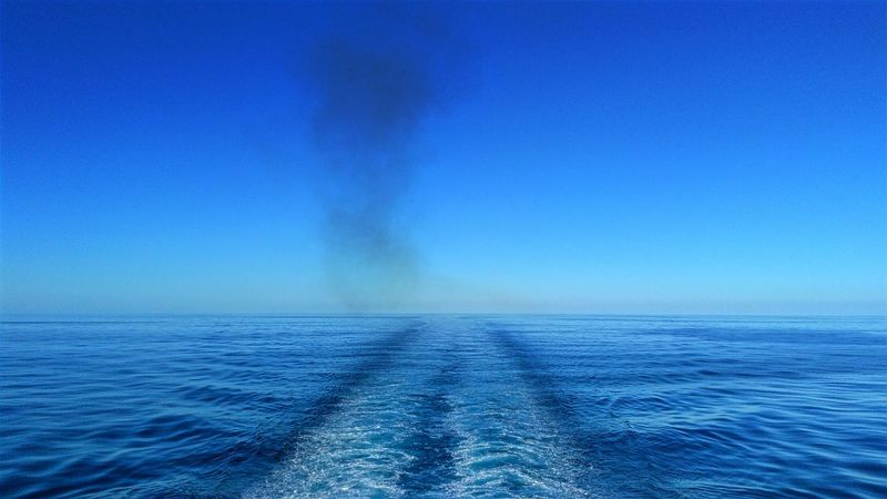 Bigblue Blue Distant Ferry Going The Distance Horizon Over Water Sea Seascape Smokeonthewater Travel