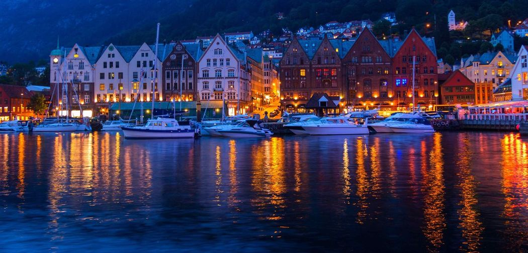 Boats In Harbor At Night