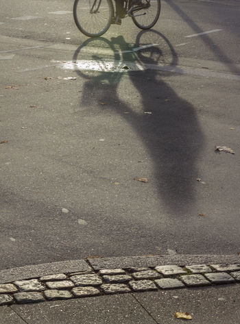 Bicycle Cobblestones Day Light And Shadow Outdoors Road Shadow Street