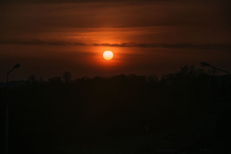 Sky Silhouette Scenics - Nature Beauty In Nature Tranquility Sunset Tranquil Scene Orange Color Sun No People Nature Idyllic Outdoors Cloud - Sky Tree Non-urban Scene Plant Landscape Vertebrate