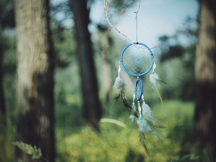 Close-Up Of Dreamcatcher Hanging Against Tree