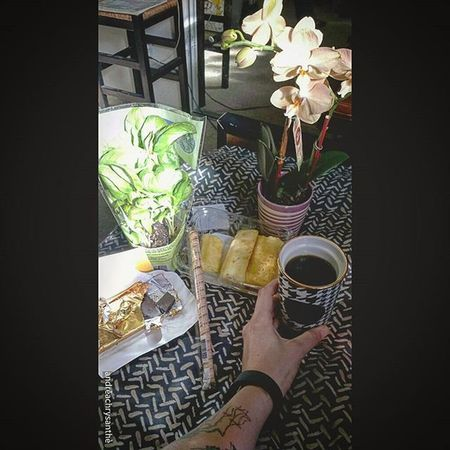 its Official , im the Luckiest Woman Alive  ...i got brought Chocolate Orchids Pineapple Coffee in a New Helmstooth Togo Mug Basil and a Cookie Straw this Morning holy crap im a Lucky Bitch Grace you are a Phenomenal Woman and I Love you 💜👭💜😙🌌
