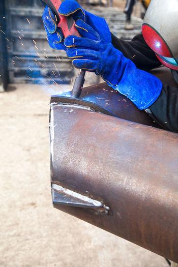 Welding work,