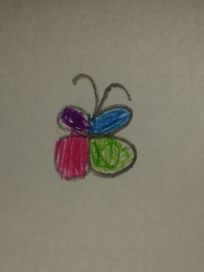 Baby Drawing Buterfly Children Drawing Multi Colored Multicolored Multicolors