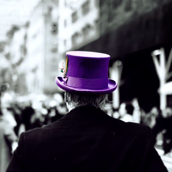 Purple Hat Photobyzach Photography USA New York City New York Hatter Crazy Alice In Wonderland Hat Purple Easter Man Colourful Bw Love Coloursplash Fujifilm Headshot Focus On Foreground Rear View One Person Real People Lifestyles Portrait Architecture Hat Men Built Structure Fashion Incidental People