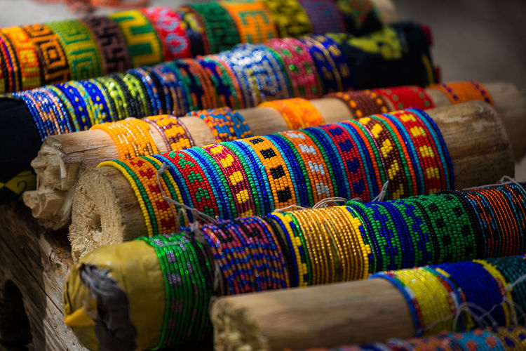 High angle view of bangles for sale at market