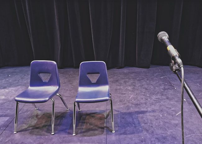 Chair Curtain Curtains Day Empty Foldable Indoors  Mic Microphone No People Scared Seat Speech Speechless Stage - Performance Space Stage Fright