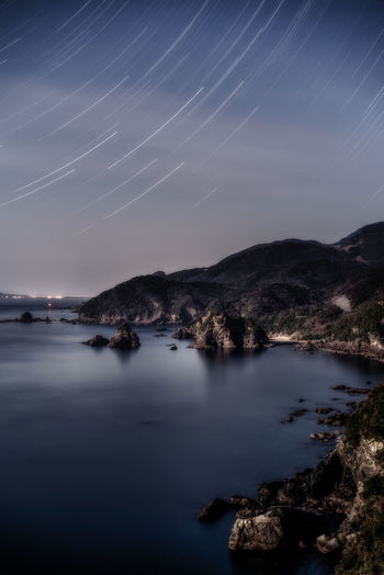 startrail Astronomy Beauty In Nature Constellation Galaxy Long Exposure Nature Night No People Outdoors Scenics Sky Star - Space Star Trail Tranquil Scene Tranquility Water