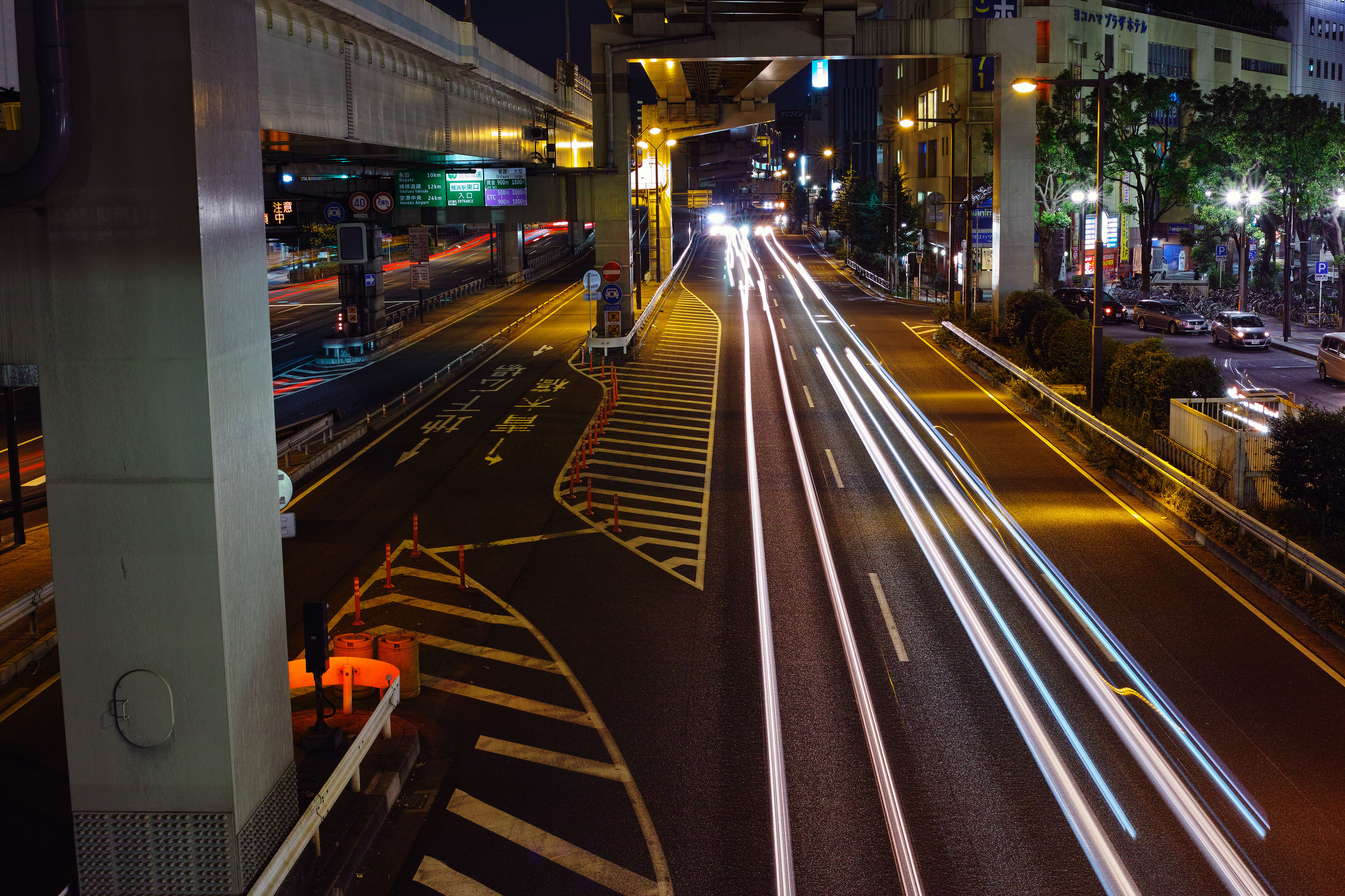 illuminated, light trail, night, motion, long exposure, speed, transportation, blurred motion, road, no people, high street, city, outdoors, architecture