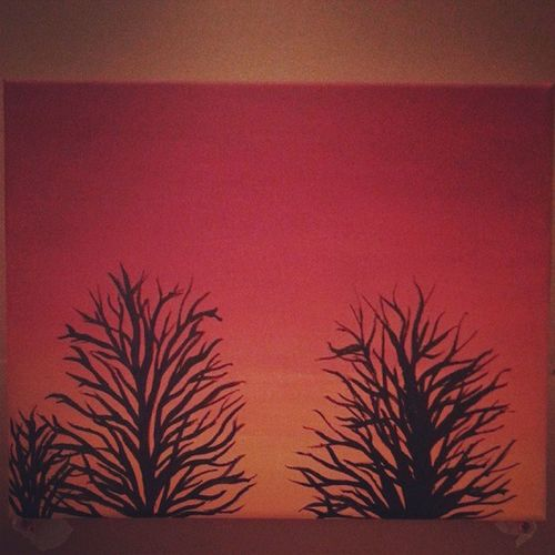 Almost finished. Still have to add leaves. Medium: acrylic paint. Almostfinished Paint Painting Inprogress firstpainting sunset trees tree silhouette red orange yellow black my original photo art artist cardboard samsung galaxy phone camera instahub instagram insta instagood