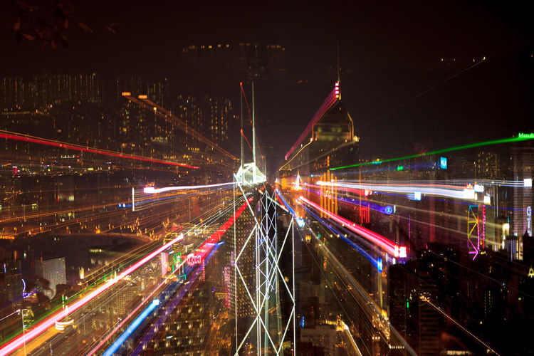 Light Trails On Hong Kong Skyline At Night