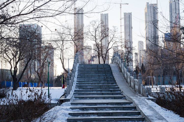 Staircase amidst bare trees in city against sky