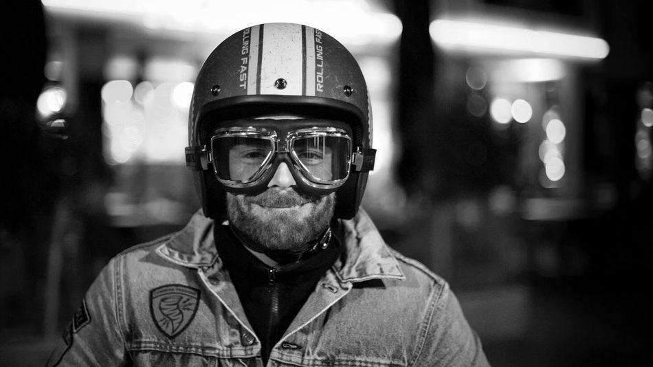 Helmet Vespa Portrait Ruhrgebiet Dude Photography Spontaneous Keep Smiling Blackandwhite