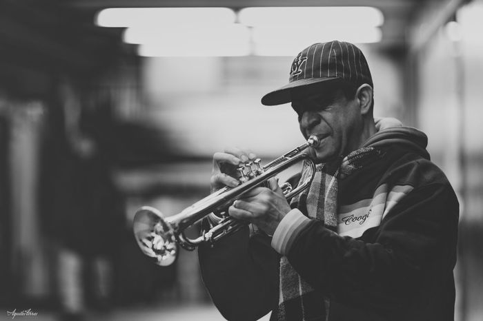 Showcase: January 34th street blues. NYC NYC Photography Herald Square Trumpet Blackandwhite Monochrome Black And White 85mm