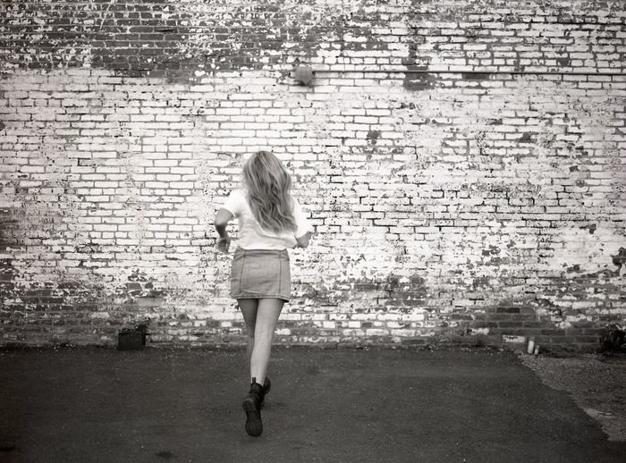 One Girl Only One Person Blackandwhite Brick Wall Running 120mm Filmisnotdead Film Welcome To Black