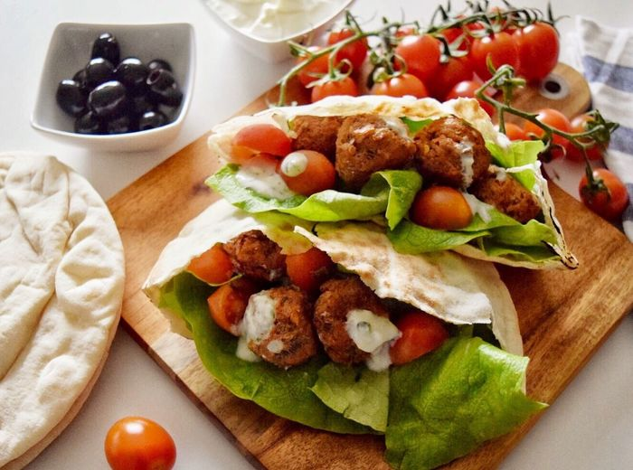 Freshness Food Food And Drink High Angle View Healthy Eating Close-up Ready-to-eat No People Indoors  Green Olive Pita Bread Day Meatballs