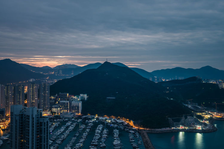 morning time Architecture Sky Building Exterior Mountain Built Structure Water City Cloud - Sky Building Mountain Range Illuminated Nature Transportation Nautical Vessel Cityscape Travel Destinations No People Mode Of Transportation Sunset Outdoors Office Building Exterior Skyscraper Aberdeen Harbour HongKong Sunrise