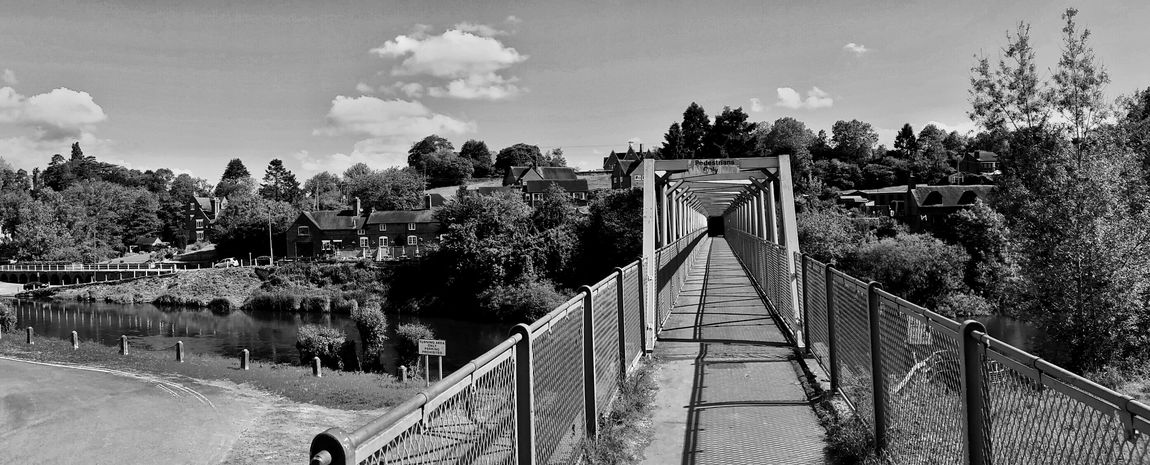 Footbridge over the River Severn. Arley Worcestershire Bnw_friday_eyeemchallenge Vanishing Point Diminishing Perspective Built Structure Bridge - Man Made Structure The Way Forward Footpath EyeEm Gallery Eye4photography  EyeEm Masterclass EyeEm Best Shots England 🌹 Scenes Of Worcestershire Away From The Hustle EyeEm Nature Lover Exceptional Photographs Tadaa Community Sunlight And Shadow Black & White Black And White Photography Blackandwhite