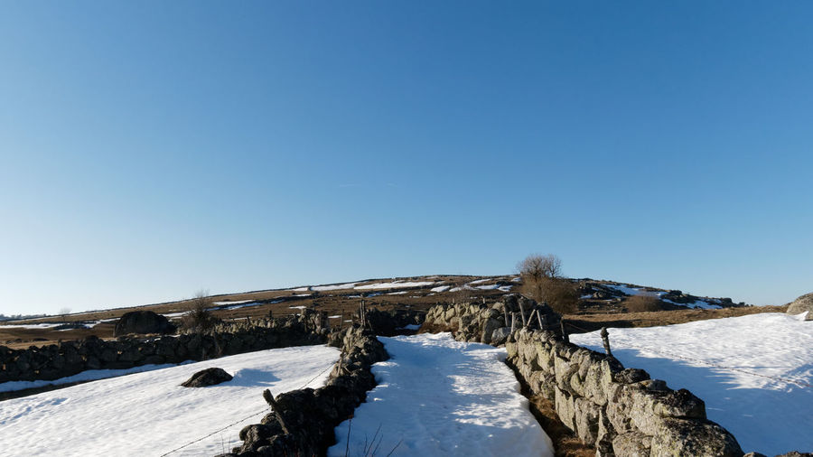 Aubrac Lozère  Path Path In Nature Stone Stone Wall Rock Rock - Object Snow Landscape Landscape_Collection Landscape_photography Land Countryside Nature Nature_collection Nature Photography Tree Hiking Hikingadventures Sky Scenics - Nature Clear Sky Blue Winter Tranquility Beauty In Nature Tranquil Scene Cold Temperature Day No People Outdoors Copy Space Environment Non-urban Scene Frozen Mountain Snowcapped Mountain Mountain Peak