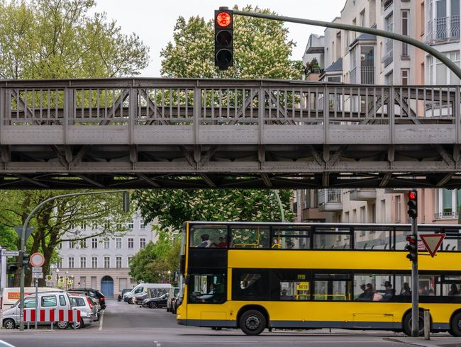 Schöneberg Double-decker Bus Red Stoplight Stop Sign Public Transport Bus Transportation Mode Of Transportation Architecture City Built Structure Land Vehicle Public Transportation Car Bridge Building Exterior Bridge - Man Made Structure Street Motor Vehicle City Life Connection Incidental People Day Road