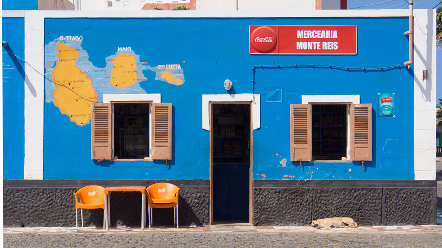 Grocery shop in Palmeira, Sal Island, Cabo Verde Blue Architecture Building Exterior Shop