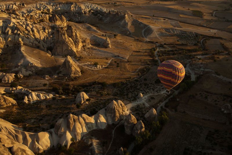 Aerial view of hot air balloon against landscape