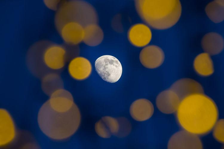 Defocused image of moon at night