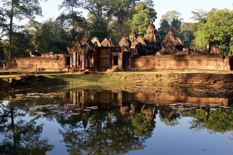 Reflection Of Old Ruin At Angkor Wat