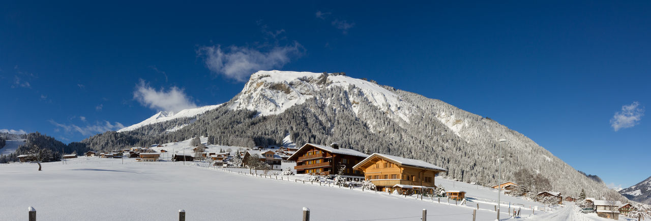 Winter Panorama in Lenk im Simmental, Switzerland Blue Chalet Cold Temperature Day Mountain Mountain Peak Mountain Range Nature No People Outdoors Scenics Sky Snow Snowcapped Mountain Winter