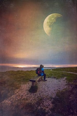 My Moon Here Belongs To Me Night Lights Night Photography Sea And Sky Sea At Night Anglesey Llandwyn Mextures That's Me Self Portrait Long Exposure Night Sky Moon Moon And Clouds Things I Like Beautiful Nature Nature Photography Landscape Single Person One Person Under The Moon Star Gazing