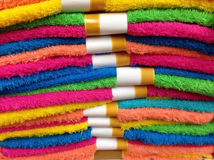 Towels Multi Colored Towel Towels Pile Colors Colorful Colorful Towels Towelday Towel Art 😆 Textile