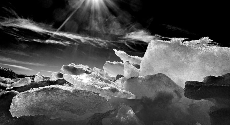 A monochrome image of ice taken on Suomenlinna. Black & White Finland Helsinki Ice Low Angle View Beauty In Nature Frozen Landscape Monochrome Suomenlinna Tranquility Winter
