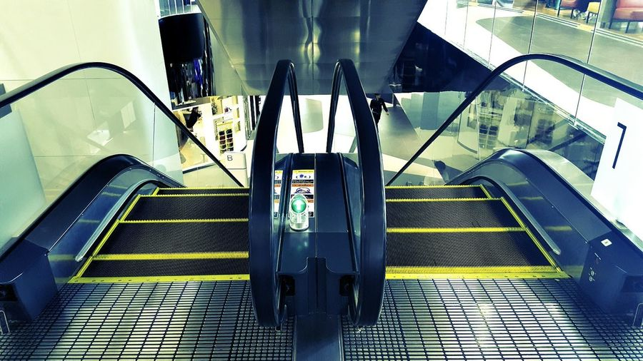 Left Escalator Transportation Steps And Staircases Indoors  Travel Staircase Commuter Clock People Day First Eyeem Photo