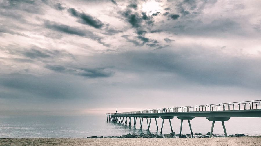 Pont del petróli Badalona Puente Mediterraneo Sky Cloud - Sky Sea Horizon Over Water Water Bridge - Man Made Structure Beach Day Tranquility First Eyeem Photo