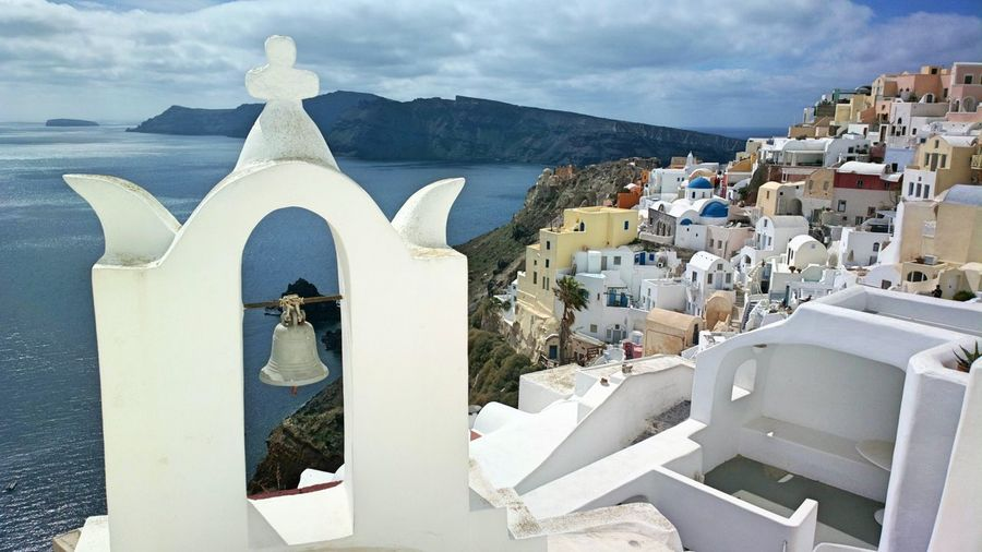 High Angle View Of Houses In Santorini