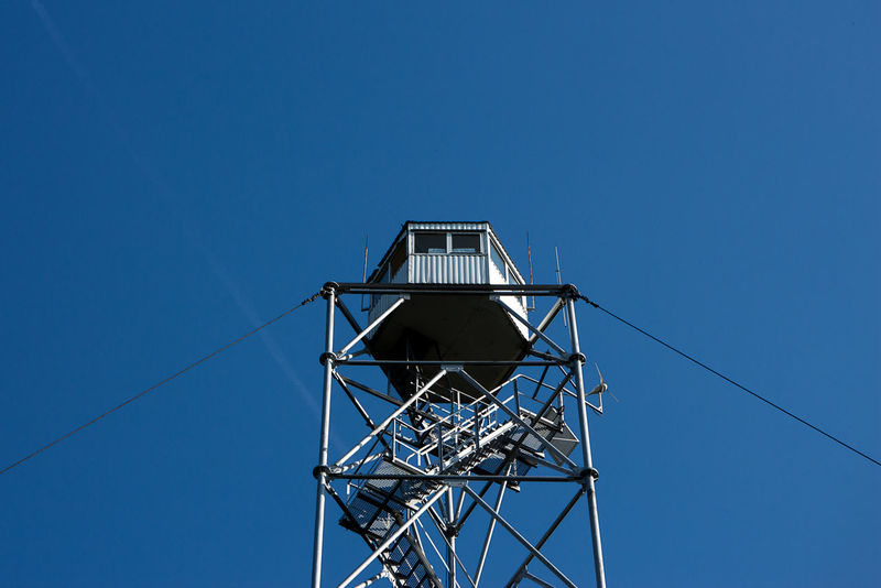 Firewatch Blue Building Exterior Built Structure Cable Clear Sky Day Low Angle View No People Outdoors Sky Tower