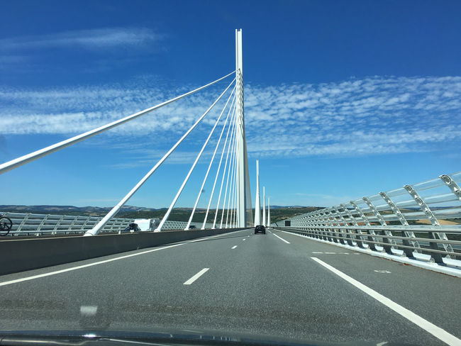 Millau Viaduct Architecture Bridge - Man Made Structure Built Structure Car Car Interior Cloud - Sky Connection Day Highway Land Vehicle Milla No People Outdoors Road Sky Suspension Bridge The Way Forward Transportation