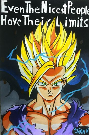 Dragonball Z GOHANSSJ2 Painting Art Canvas Colours Colourful Black Lightning Tv Series Anime Cartoon Childhood Memories Art
