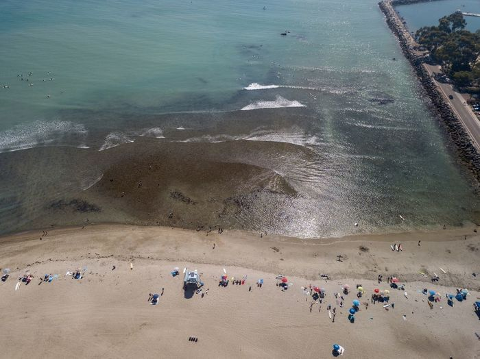 aerial view of a beach and ocean Water Land High Angle View Sea Beach Day Nature Outdoors Ocean Drone View